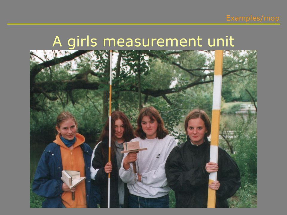 A girls measurement unit Examples/mop