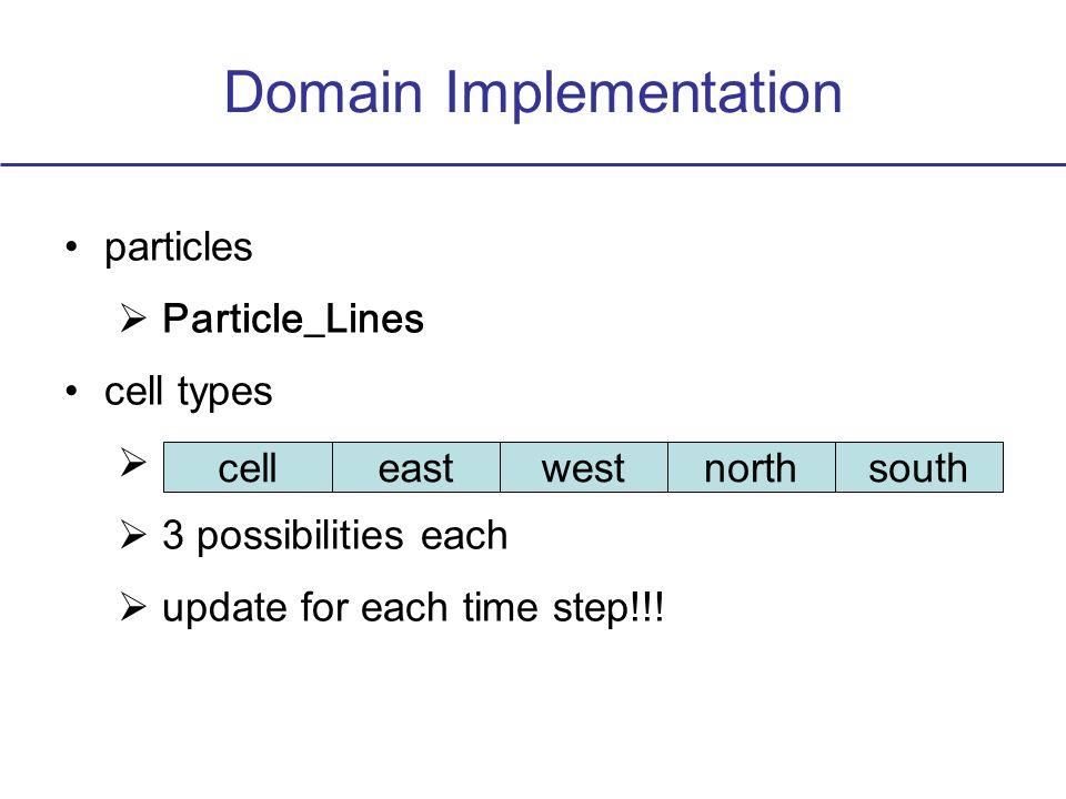 Domain Implementation particles Particle_Lines cell types 3 possibilities each update for each time step!!! celleastwestnorthsouth