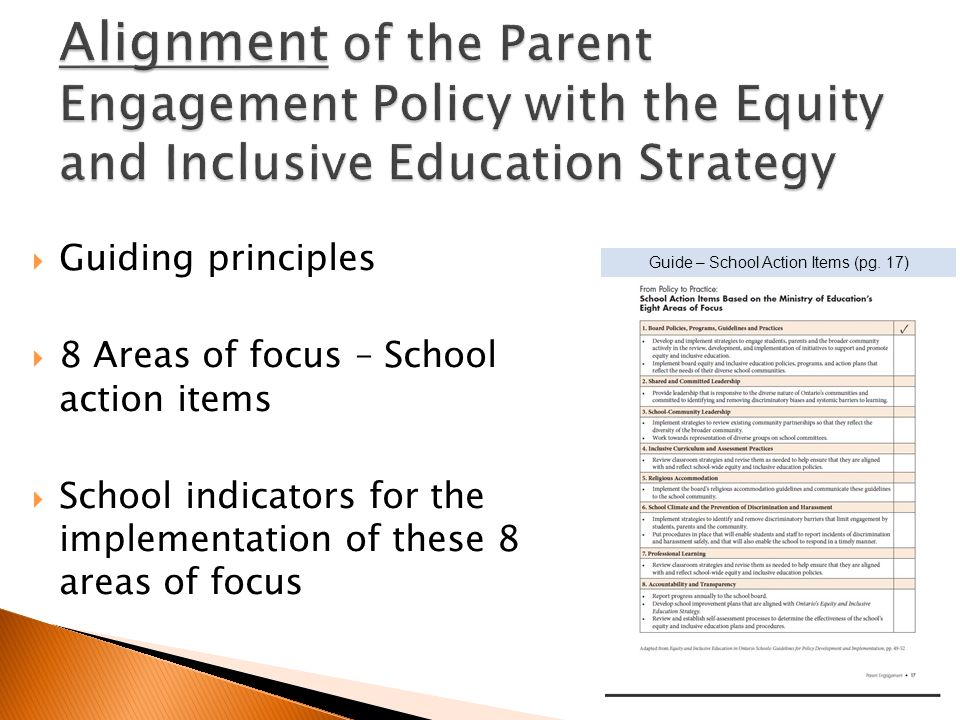 Guiding principles 8 Areas of focus – School action items School indicators for the implementation of these 8 areas of focus Guide – School Action Ite