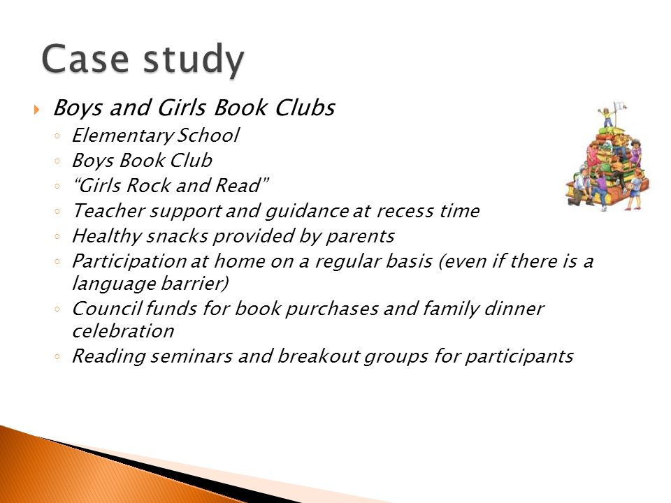 Boys and Girls Book Clubs Elementary School Boys Book Club Girls Rock and Read Teacher support and guidance at recess time Healthy snacks provided by parents Participation at home on a regular basis (even if there is a language barrier) Council funds for book purchases and family dinner celebration Reading seminars and breakout groups for participants