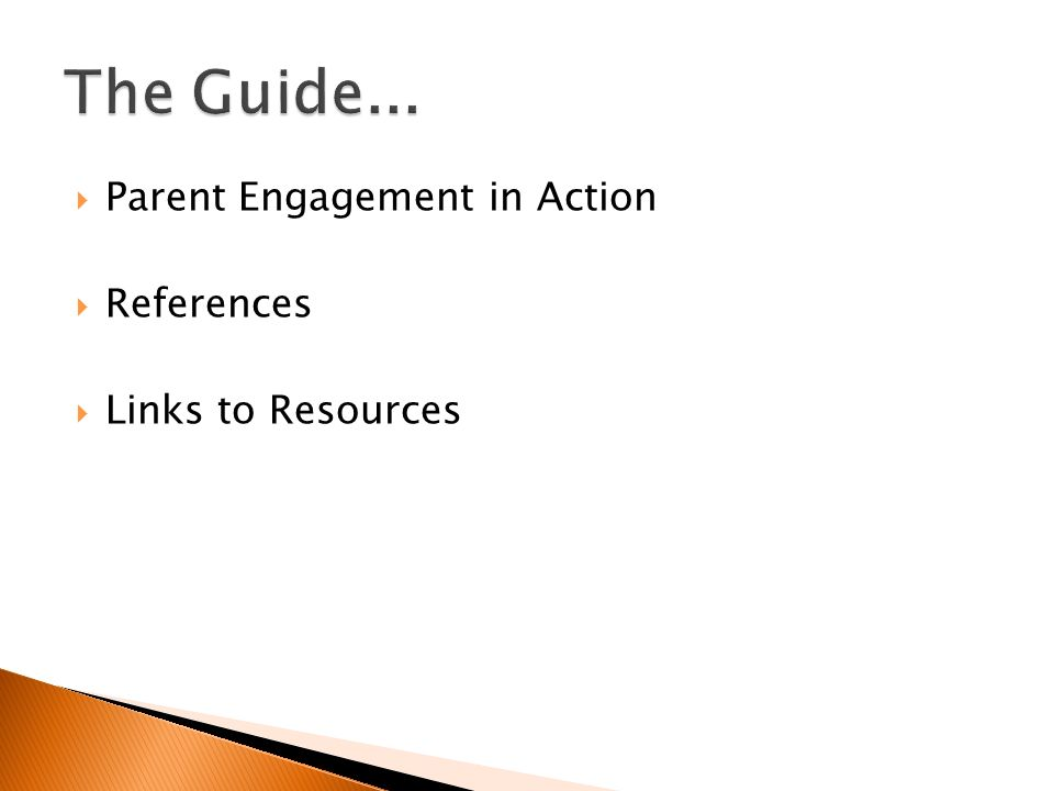 Parent Engagement in Action References Links to Resources