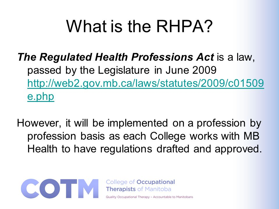 What is the RHPA.