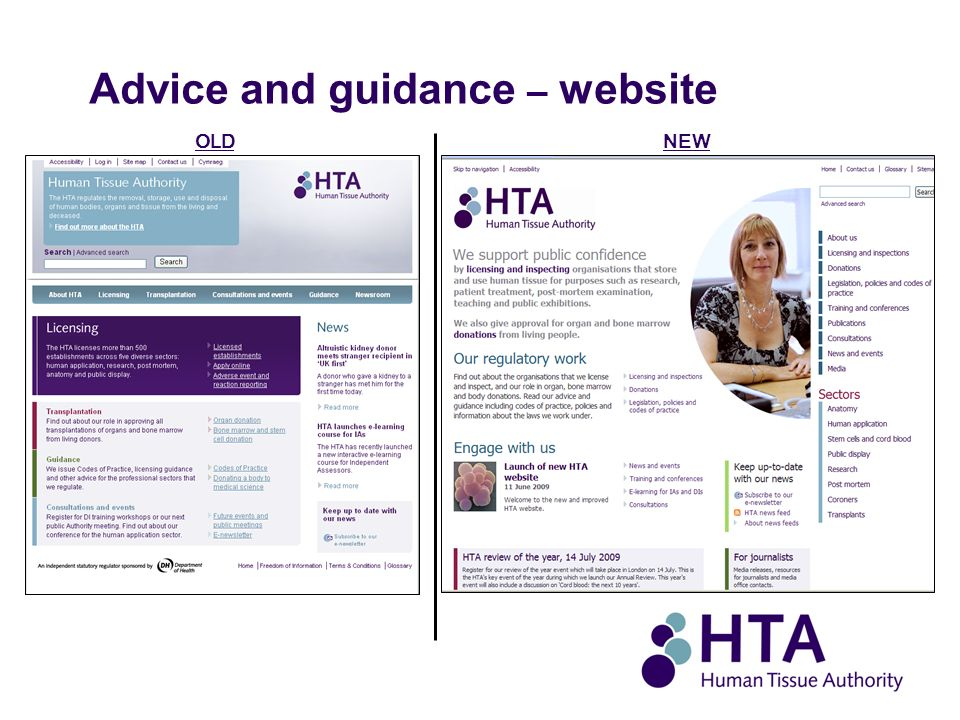 Advice and guidance – website NEWOLD