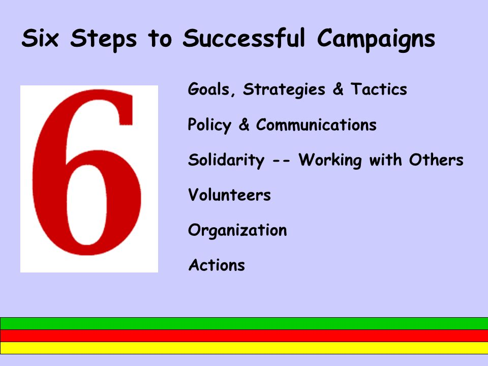Six Steps to Successful Campaigns Goals, Strategies & Tactics Policy & Communications Solidarity -- Working with Others Volunteers Organization Action