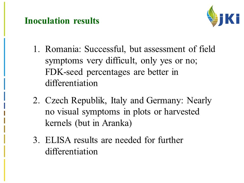 Inoculation results 1.Romania: Successful, but assessment of field symptoms very difficult, only yes or no; FDK-seed percentages are better in differentiation 2.Czech Republik, Italy and Germany: Nearly no visual symptoms in plots or harvested kernels (but in Aranka) 3.ELISA results are needed for further differentiation
