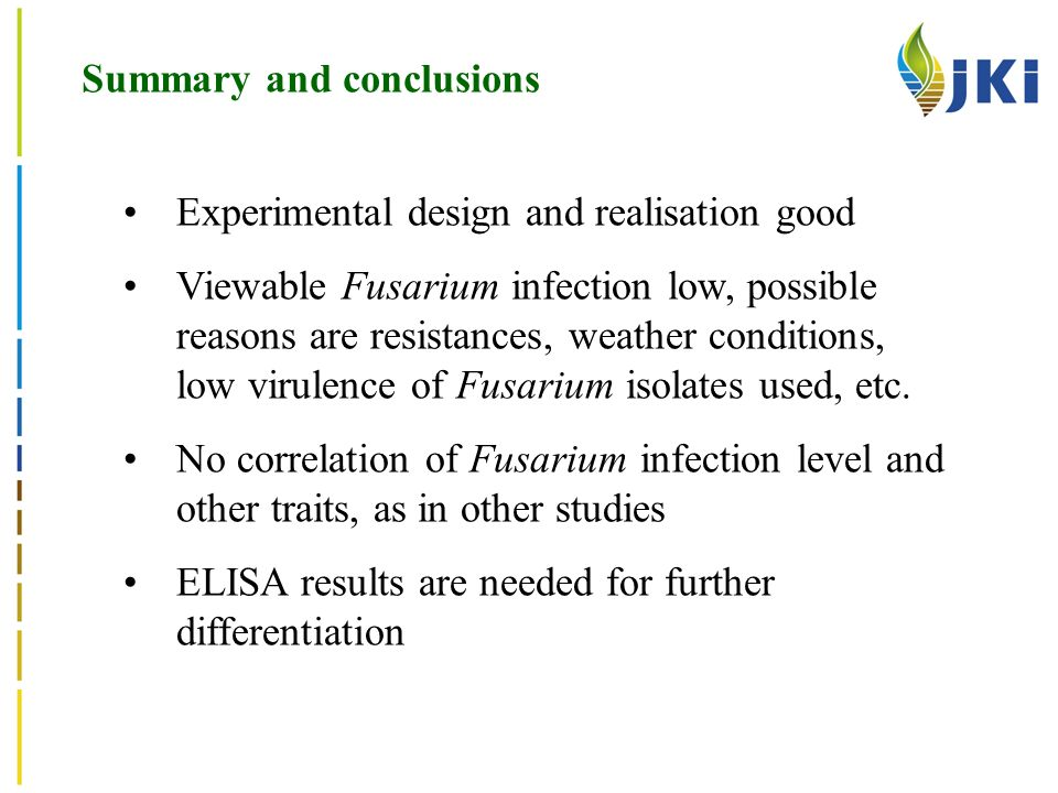 Summary and conclusions Experimental design and realisation good Viewable Fusarium infection low, possible reasons are resistances, weather conditions, low virulence of Fusarium isolates used, etc.