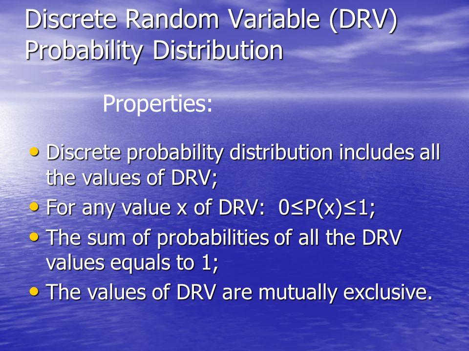 Discrete Random Variable (DRV) Probability Distribution Discrete probability distribution includes all the values of DRV; Discrete probability distrib