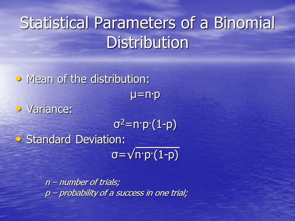 Statistical Parameters of a Binomial Distribution Mean of the distribution: Mean of the distribution: µ=n. p Variance: Variance: σ 2 =n. p. (1-p) Stan