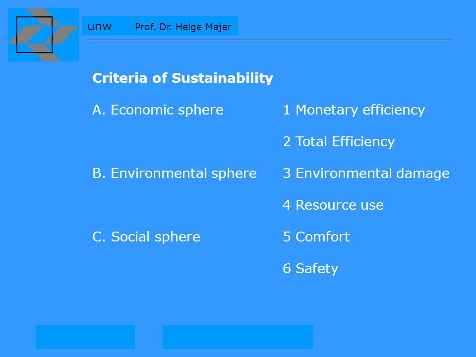 unw Prof. Dr. Helge Majer Criteria of Sustainability A. Economic sphere 1 Monetary efficiency 2 Total Efficiency B. Environmental sphere3 Environmenta