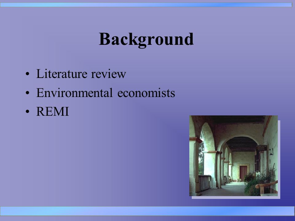 Background Literature review Environmental economists REMI