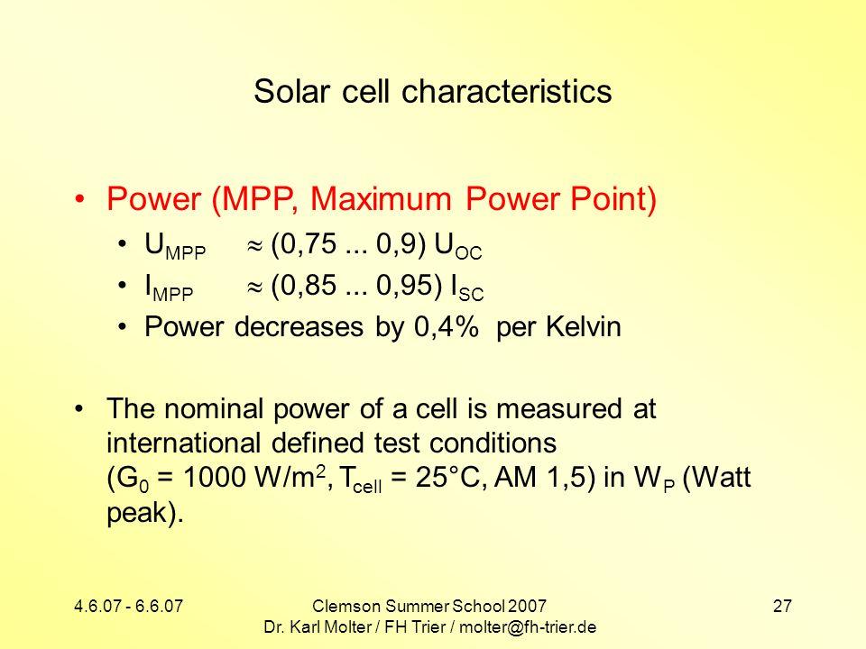 4.6.07 - 6.6.07Clemson Summer School 2007 Dr. Karl Molter / FH Trier / molter@fh-trier.de 27 Solar cell characteristics Power (MPP, Maximum Power Poin