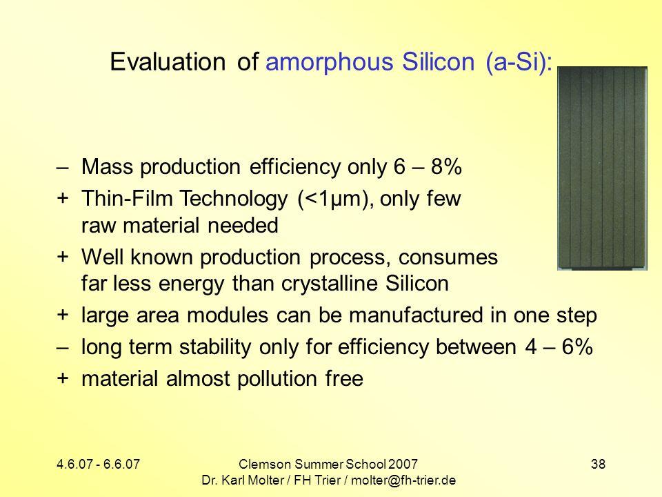 4.6.07 - 6.6.07Clemson Summer School 2007 Dr. Karl Molter / FH Trier / molter@fh-trier.de 38 Evaluation of amorphous Silicon (a-Si): –Mass production
