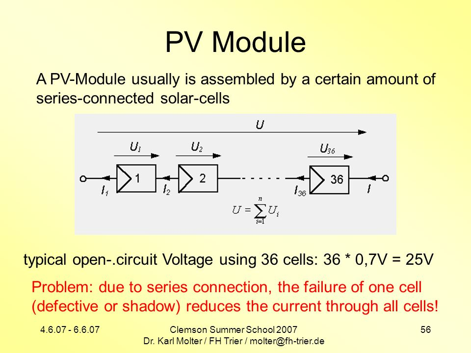 4.6.07 - 6.6.07Clemson Summer School 2007 Dr. Karl Molter / FH Trier / molter@fh-trier.de 56 PV Module A PV-Module usually is assembled by a certain a