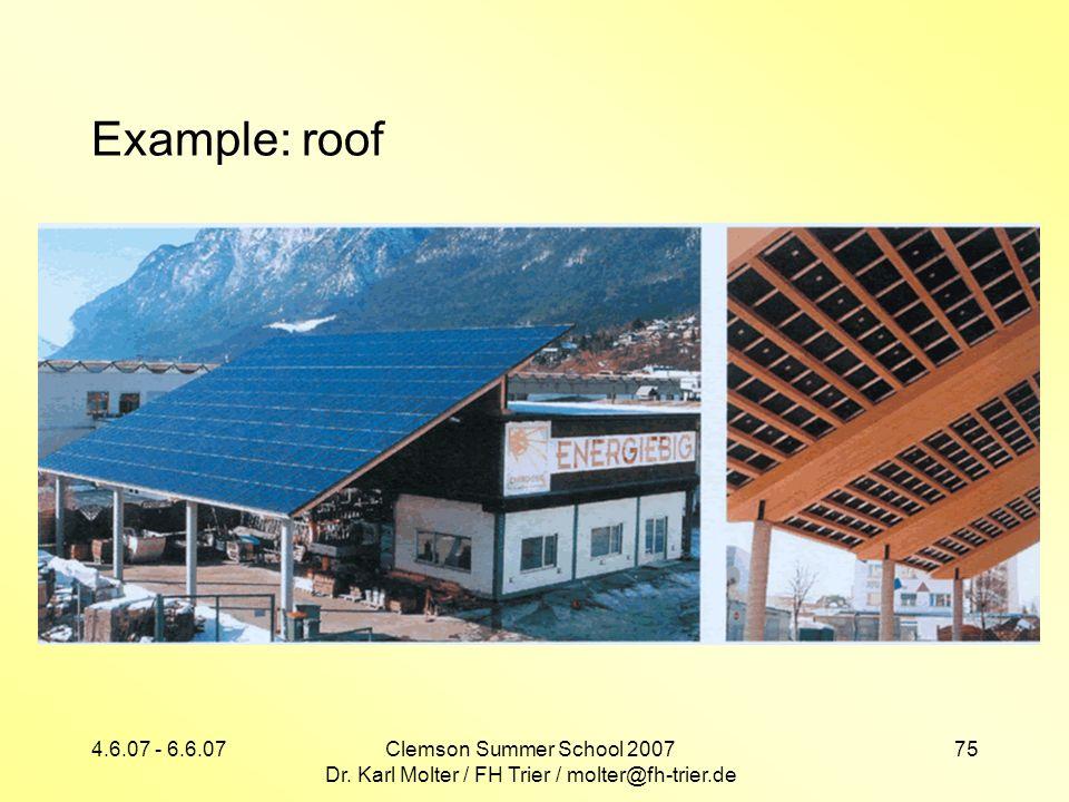4.6.07 - 6.6.07Clemson Summer School 2007 Dr. Karl Molter / FH Trier / molter@fh-trier.de 75 Example: roof