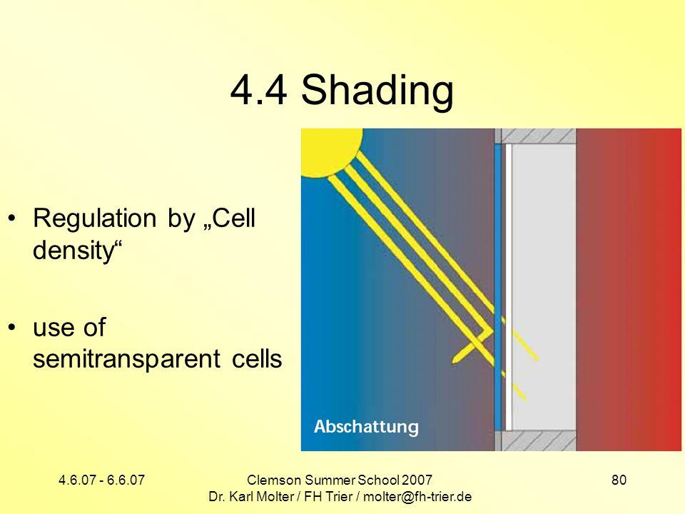 4.6.07 - 6.6.07Clemson Summer School 2007 Dr. Karl Molter / FH Trier / molter@fh-trier.de 80 4.4 Shading Regulation by Cell density use of semitranspa