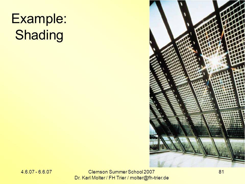 4.6.07 - 6.6.07Clemson Summer School 2007 Dr. Karl Molter / FH Trier / molter@fh-trier.de 81 Example: Shading