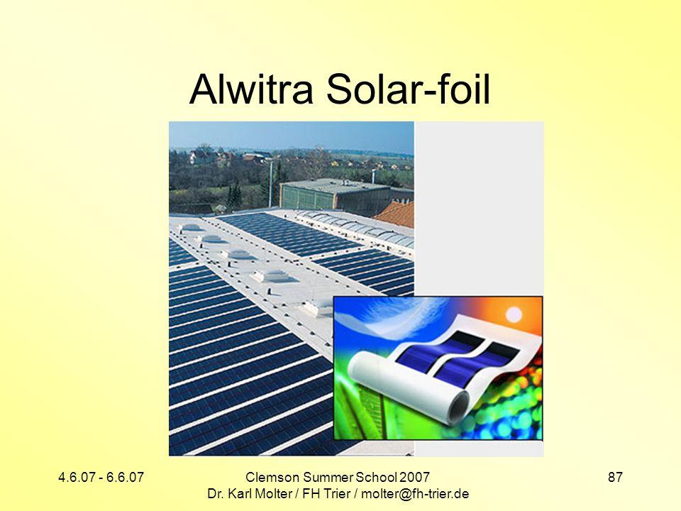 4.6.07 - 6.6.07Clemson Summer School 2007 Dr. Karl Molter / FH Trier / molter@fh-trier.de 87 Alwitra Solar-foil