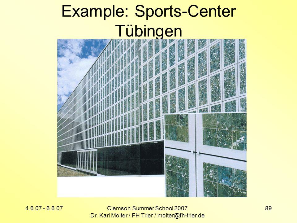 4.6.07 - 6.6.07Clemson Summer School 2007 Dr. Karl Molter / FH Trier / molter@fh-trier.de 89 Example: Sports-Center Tübingen