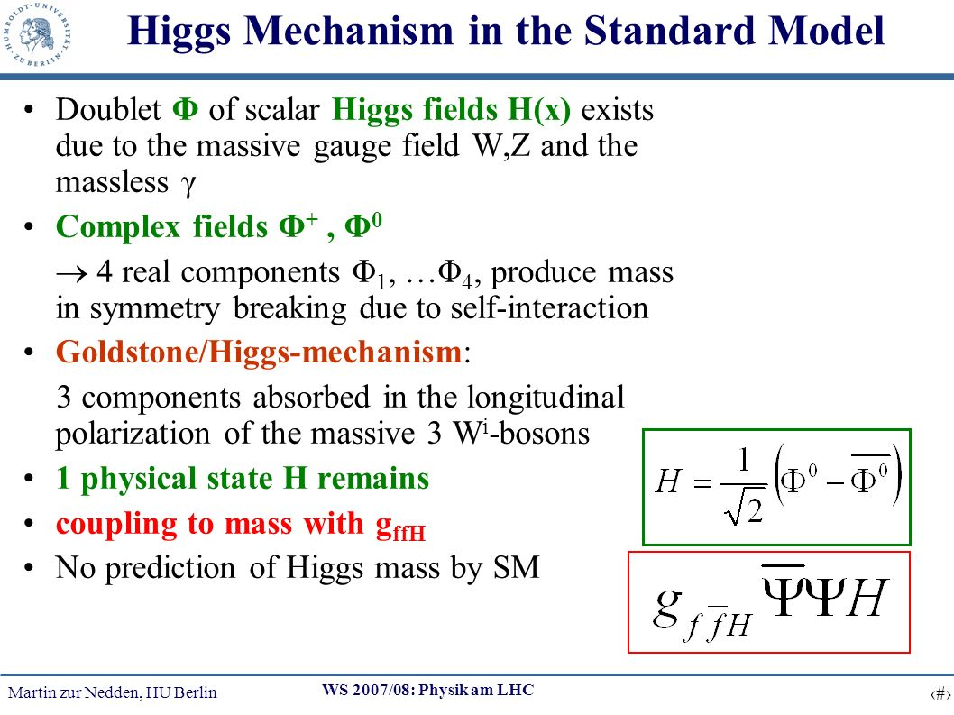 Martin zur Nedden, HU Berlin 2 WS 2007/08: Physik am LHC Higgs Mechanism in the Standard Model Doublet Φ of scalar Higgs fields H(x) exists due to the