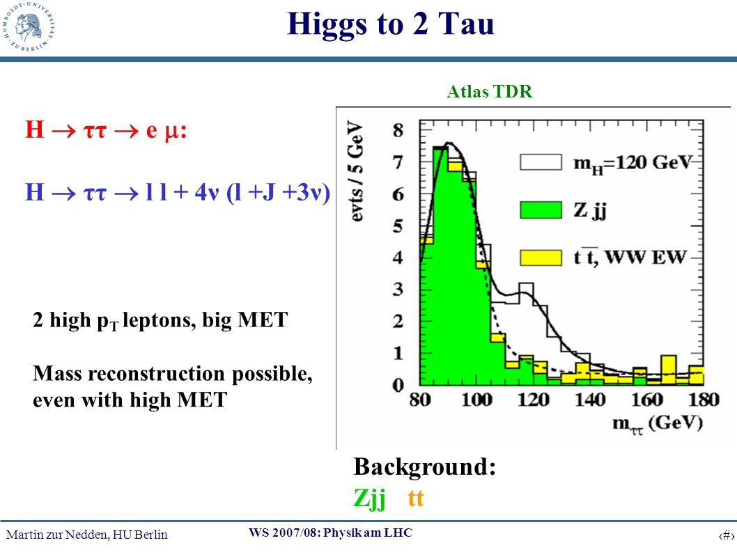 Martin zur Nedden, HU Berlin 22 WS 2007/08: Physik am LHC Higgs to 2 Tau H ττ e : H ττ l l + 4ν (l +J +3ν) Atlas TDR 2 high p T leptons, big MET Mass reconstruction possible, even with high MET Background: Zjj, tt