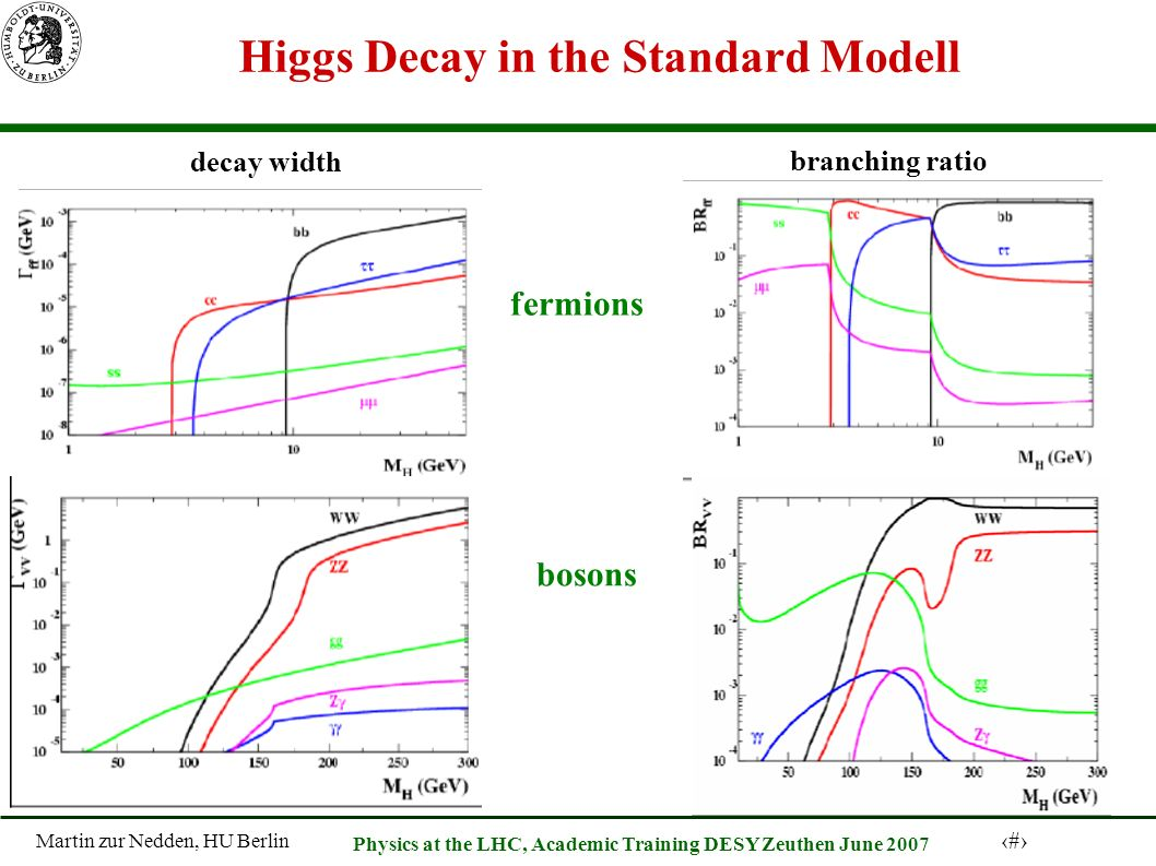 Martin zur Nedden, HU Berlin 17 Physics at the LHC, Academic Training DESY Zeuthen June 2007 Higgs Decay in the Standard Modell fermions bosons decay width branching ratio
