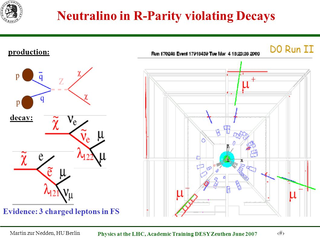 Martin zur Nedden, HU Berlin 52 Physics at the LHC, Academic Training DESY Zeuthen June 2007 Neutralino in R-Parity violating Decays production: decay: Evidence: 3 charged leptons in FS