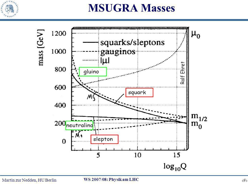 Martin zur Nedden, HU Berlin 16 WS 2007/08: Physik am LHC MSUGRA Masses