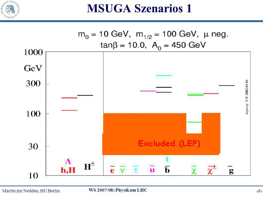Martin zur Nedden, HU Berlin 17 WS 2007/08: Physik am LHC MSUGA Szenarios 1