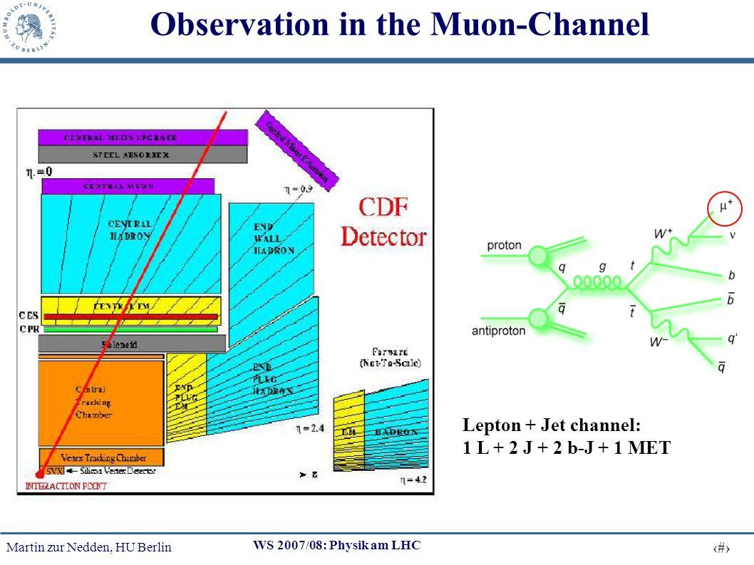 Martin zur Nedden, HU Berlin 19 WS 2007/08: Physik am LHC Observation in the Muon-Channel Lepton + Jet channel: 1 L + 2 J + 2 b-J + 1 MET
