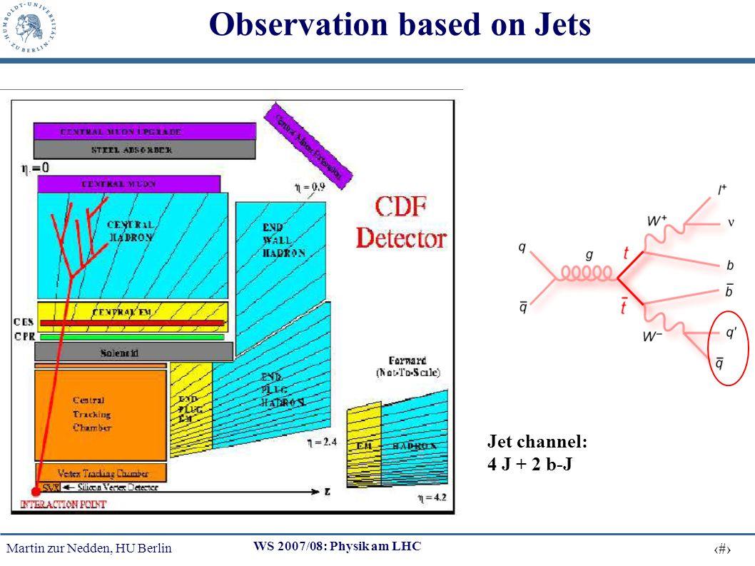 Martin zur Nedden, HU Berlin 21 WS 2007/08: Physik am LHC Observation based on Jets Jet channel: 4 J + 2 b-J