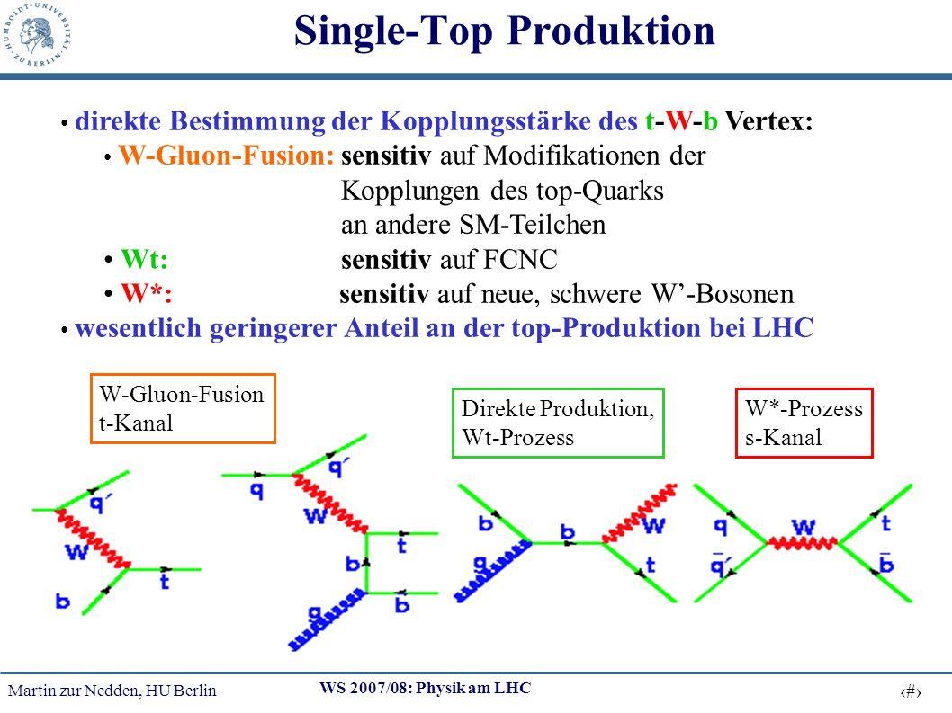 Martin zur Nedden, HU Berlin 38 WS 2007/08: Physik am LHC Single-Top Produktion direkte Bestimmung der Kopplungsstärke des t-W-b Vertex: W-Gluon-Fusion: sensitiv auf Modifikationen der Kopplungen des top-Quarks an andere SM-Teilchen Wt: sensitiv auf FCNC W*: sensitiv auf neue, schwere W-Bosonen wesentlich geringerer Anteil an der top-Produktion bei LHC W-Gluon-Fusion t-Kanal Direkte Produktion, Wt-Prozess W*-Prozess s-Kanal