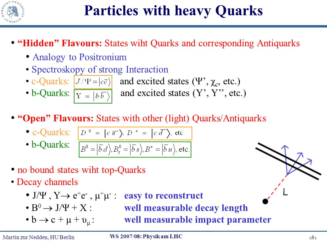 Martin zur Nedden, HU Berlin 4 WS 2007/08: Physik am LHC Hidden Flavours: States wiht Quarks and corresponding Antiquarks Analogy to Positronium Spectroskopy of strong Interaction c-Quarks: and excited states (Ψ, χ c, etc.) b-Quarks: and excited states (Y, Y, etc.) Open Flavours: States with other (light) Quarks/Antiquarks c-Quarks: b-Quarks: no bound states wiht top-Quarks Decay channels J/Ψ, Υ e + e -, μ + μ - : easy to reconstruct B 0 J/Ψ + X : well measurable decay length b c + μ + υ μ : well measurable impact parameter Particles with heavy Quarks