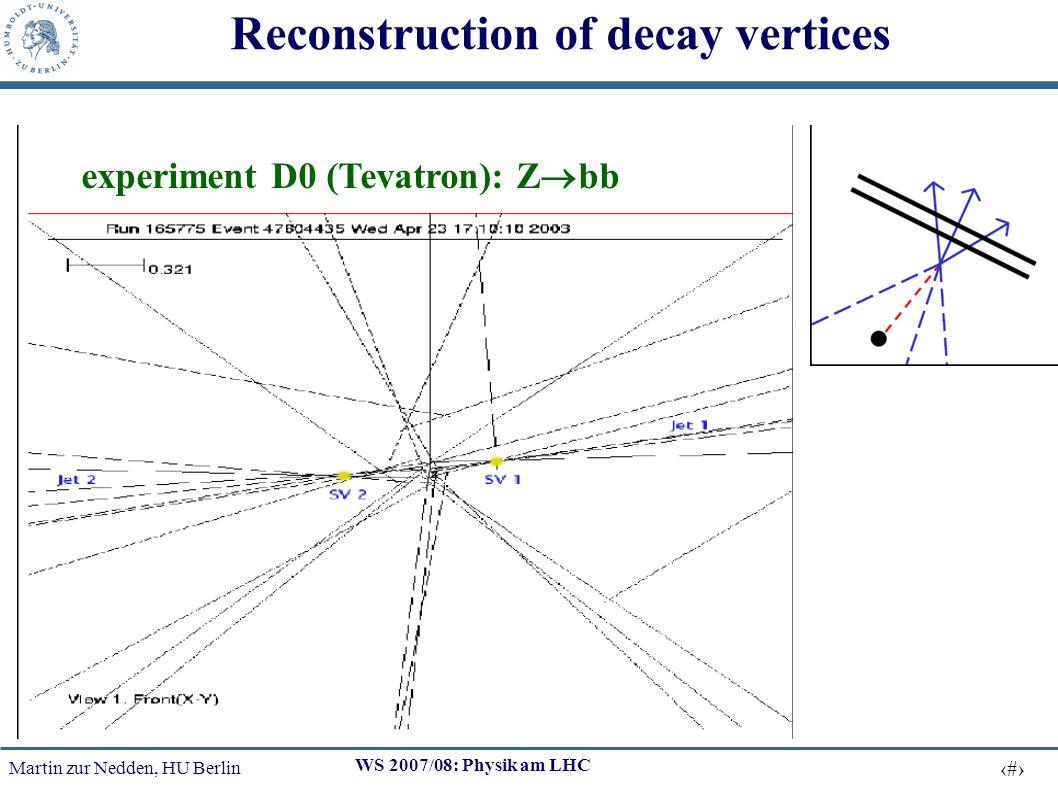 Martin zur Nedden, HU Berlin 7 WS 2007/08: Physik am LHC Reconstruction of decay vertices experiment D0 (Tevatron): Z bb