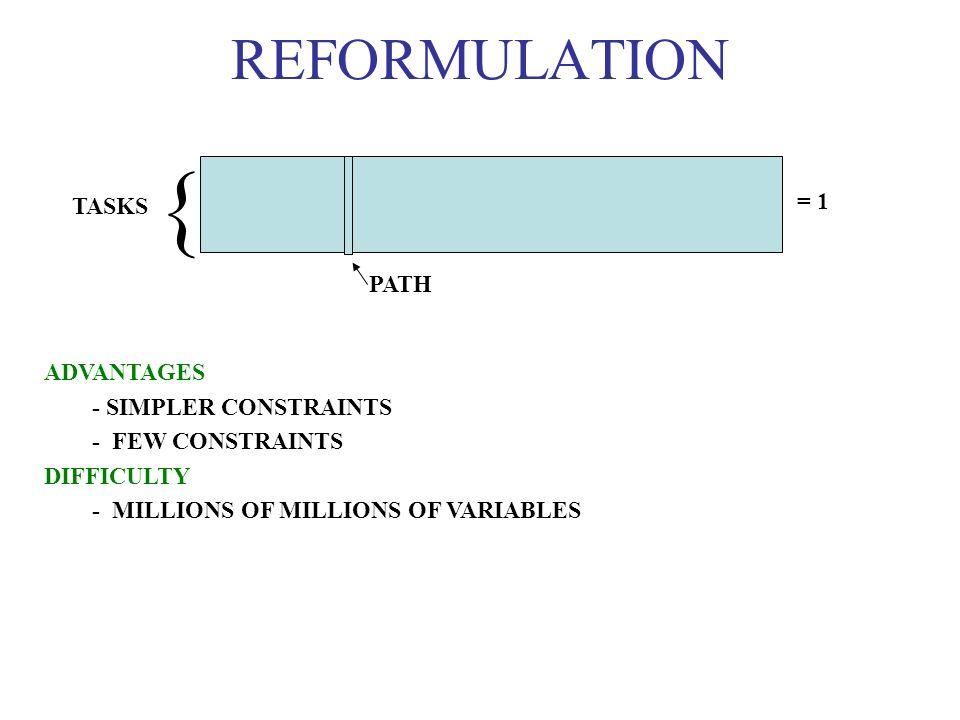 REFORMULATION ADVANTAGES - SIMPLER CONSTRAINTS - FEW CONSTRAINTS DIFFICULTY - MILLIONS OF MILLIONS OF VARIABLES = 1 TASKS PATH {