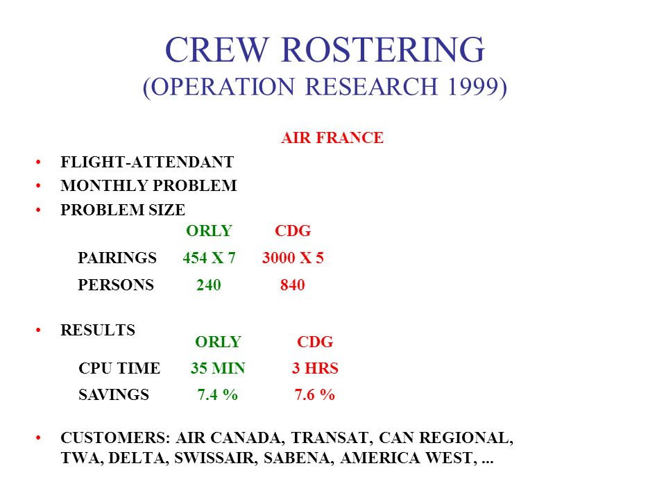 CREW ROSTERING (OPERATION RESEARCH 1999) AIR FRANCE FLIGHT-ATTENDANT MONTHLY PROBLEM PROBLEM SIZE RESULTS CUSTOMERS: AIR CANADA, TRANSAT, CAN REGIONAL