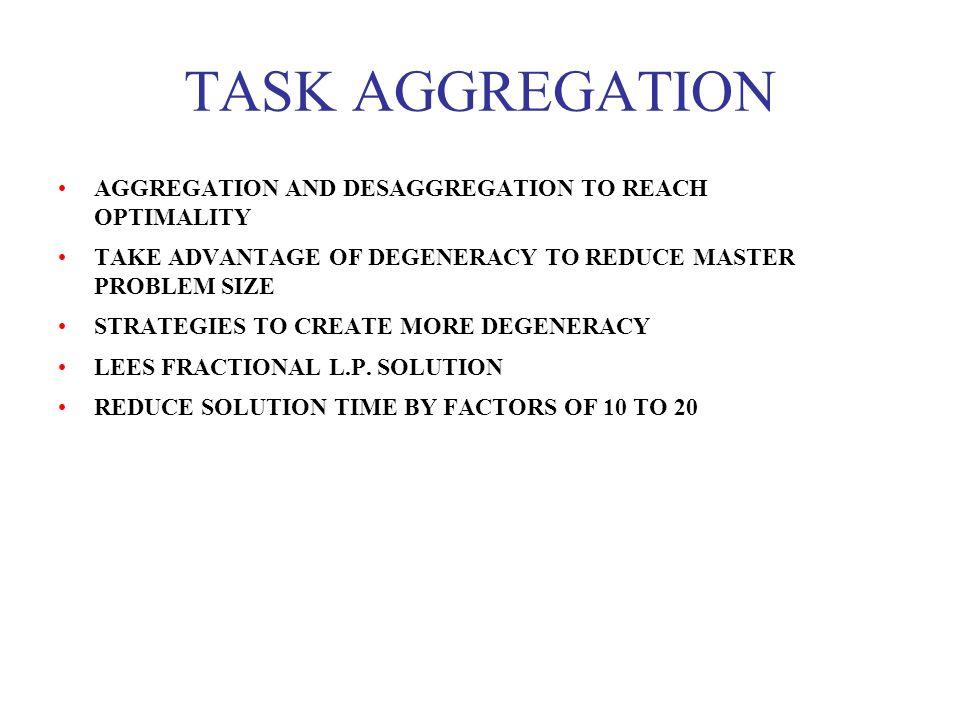 TASK AGGREGATION AGGREGATION AND DESAGGREGATION TO REACH OPTIMALITY TAKE ADVANTAGE OF DEGENERACY TO REDUCE MASTER PROBLEM SIZE STRATEGIES TO CREATE MO