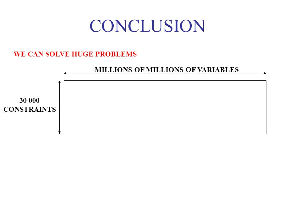 WE CAN SOLVE HUGE PROBLEMS CONCLUSION MILLIONS OF MILLIONS OF VARIABLES 30 000 CONSTRAINTS
