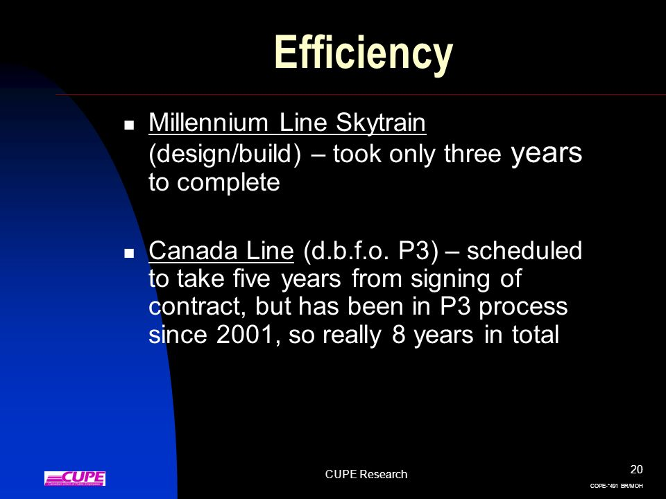 CUPE Research 20 COPE-*491 BR/MOH Efficiency Millennium Line Skytrain (design/build) – took only three years to complete Canada Line (d.b.f.o. P3) – s