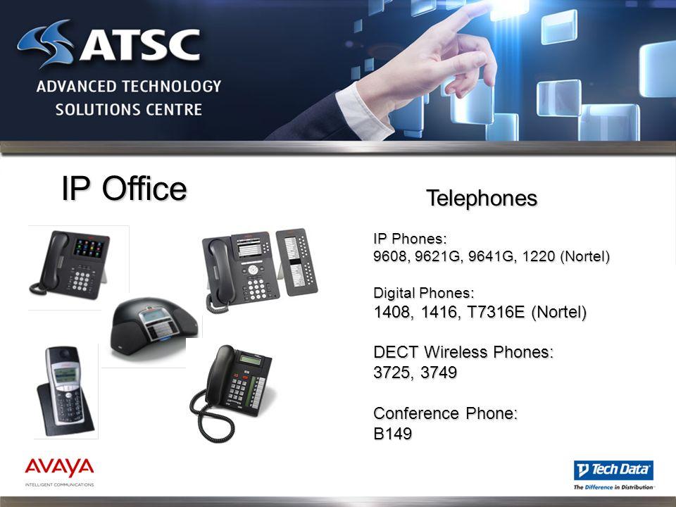 IP Office IP Phones: 9608, 9621G, 9641G, 1220 (Nortel) Digital Phones: 1408, 1416, T7316E (Nortel) DECT Wireless Phones: 3725, 3749 Conference Phone: