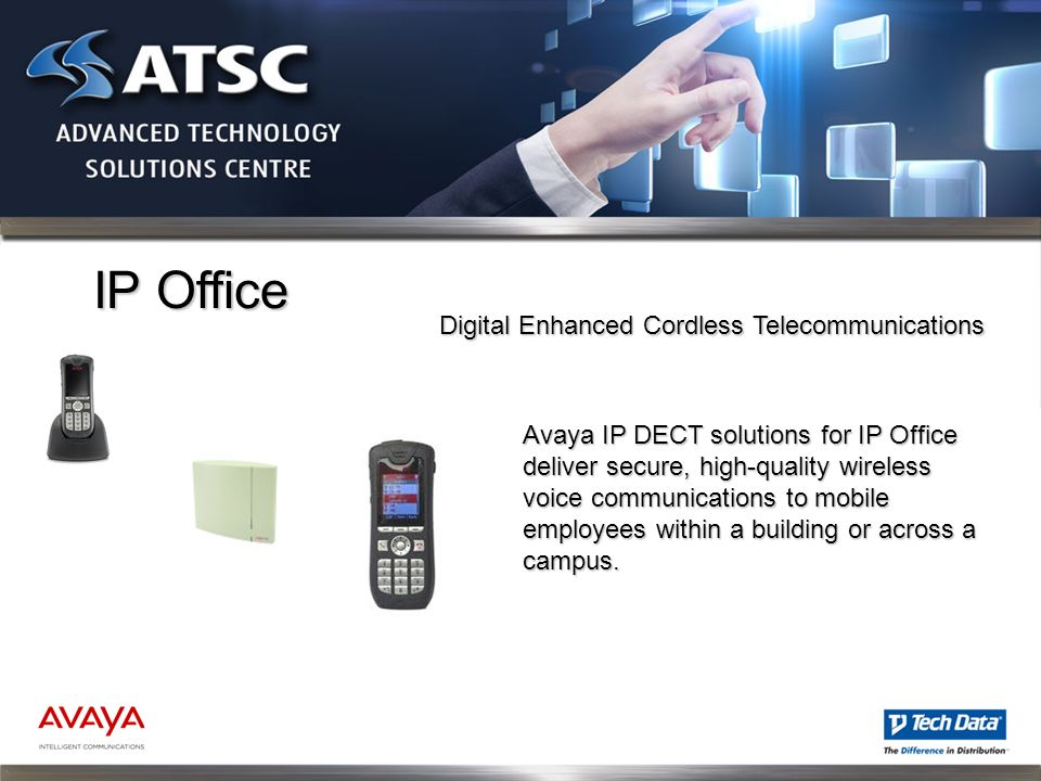 IP Office Avaya IP DECT solutions for IP Office deliver secure, high-quality wireless voice communications to mobile employees within a building or ac