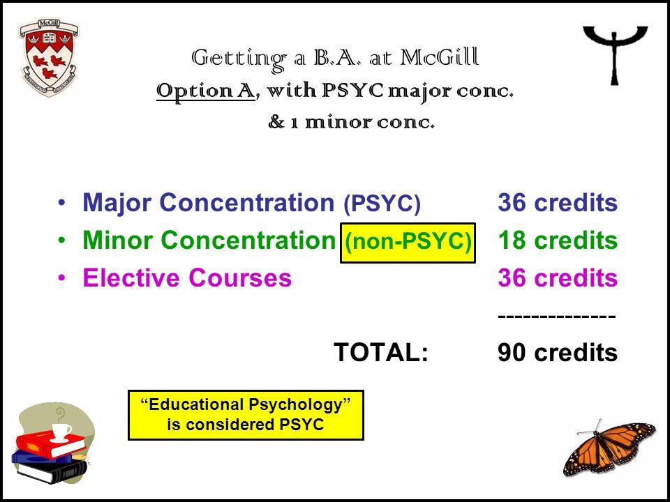 Major Concentration (PSYC) 36 credits Minor Concentration (non-PSYC) 18 credits Elective Courses36 credits -------------- TOTAL:90 credits Getting a B