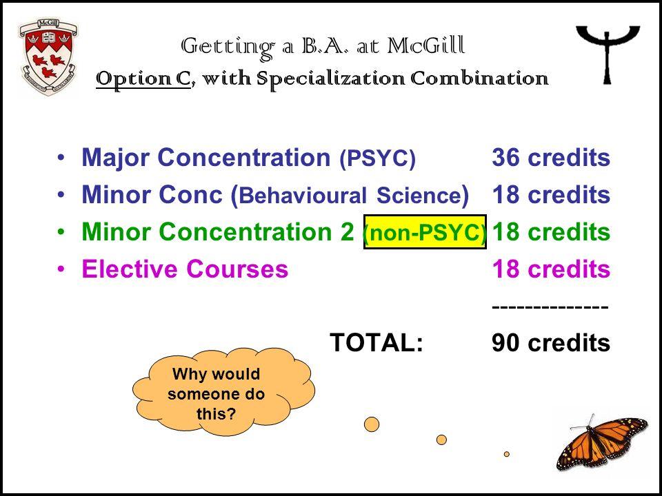 Major Concentration (PSYC) 36 credits Minor Conc ( Behavioural Science )18 credits Minor Concentration 2 ( non-PSYC ) 18 credits Elective Courses18 cr