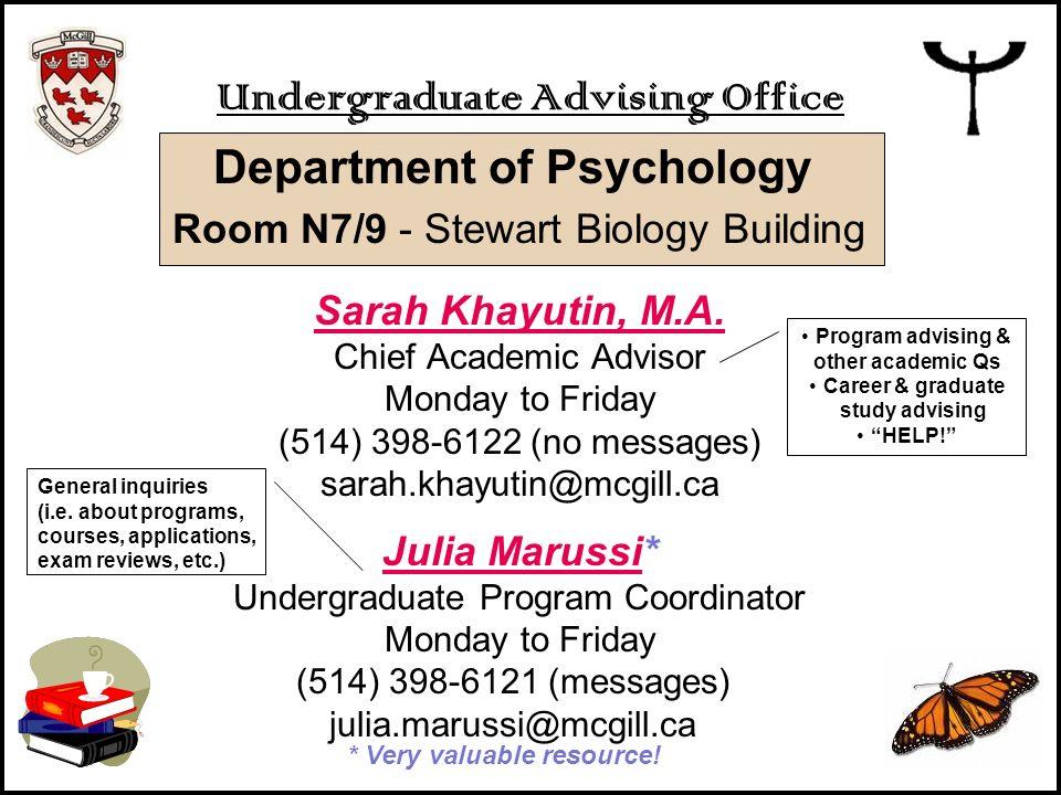 Undergraduate Advising Office Department of Psychology Room N7/9 - Stewart Biology Building Sarah Khayutin, M.A. Chief Academic Advisor Monday to Frid
