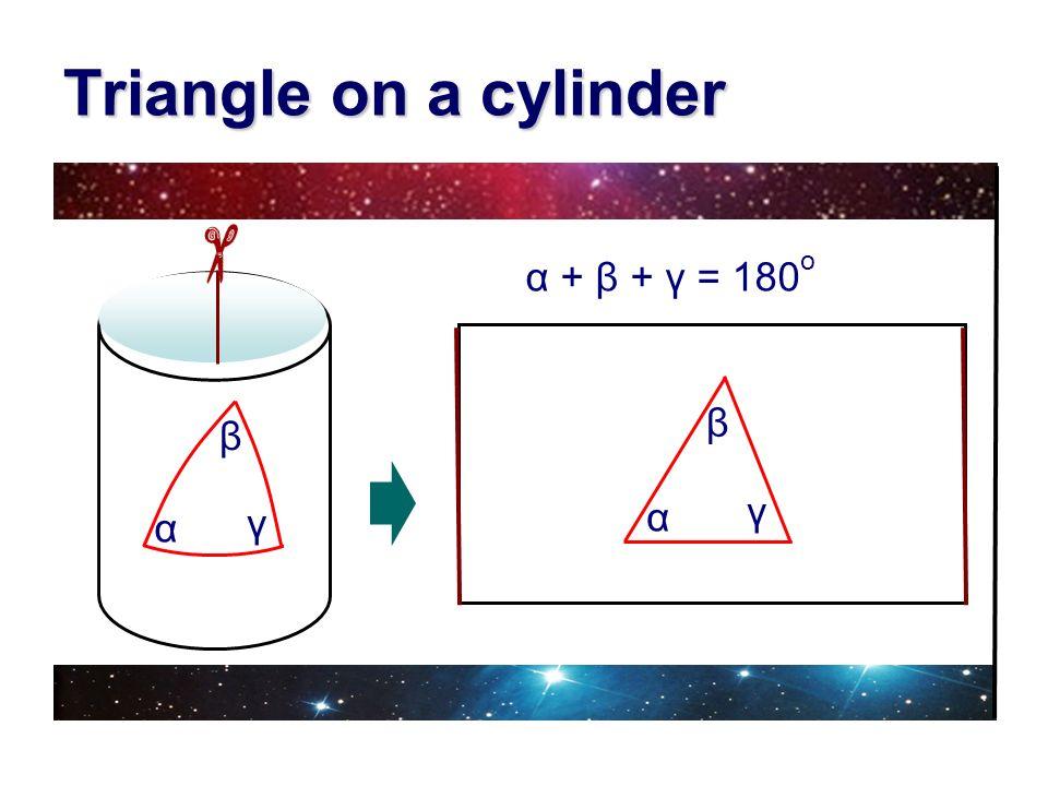 Triangle on a cylinder α + β + γ = 180 o γ β α γ β α