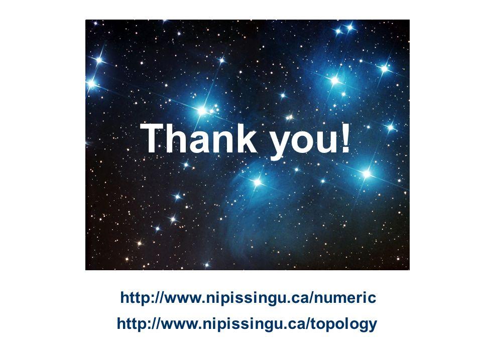 Thank you! http://www.nipissingu.ca/numeric http://www.nipissingu.ca/topology