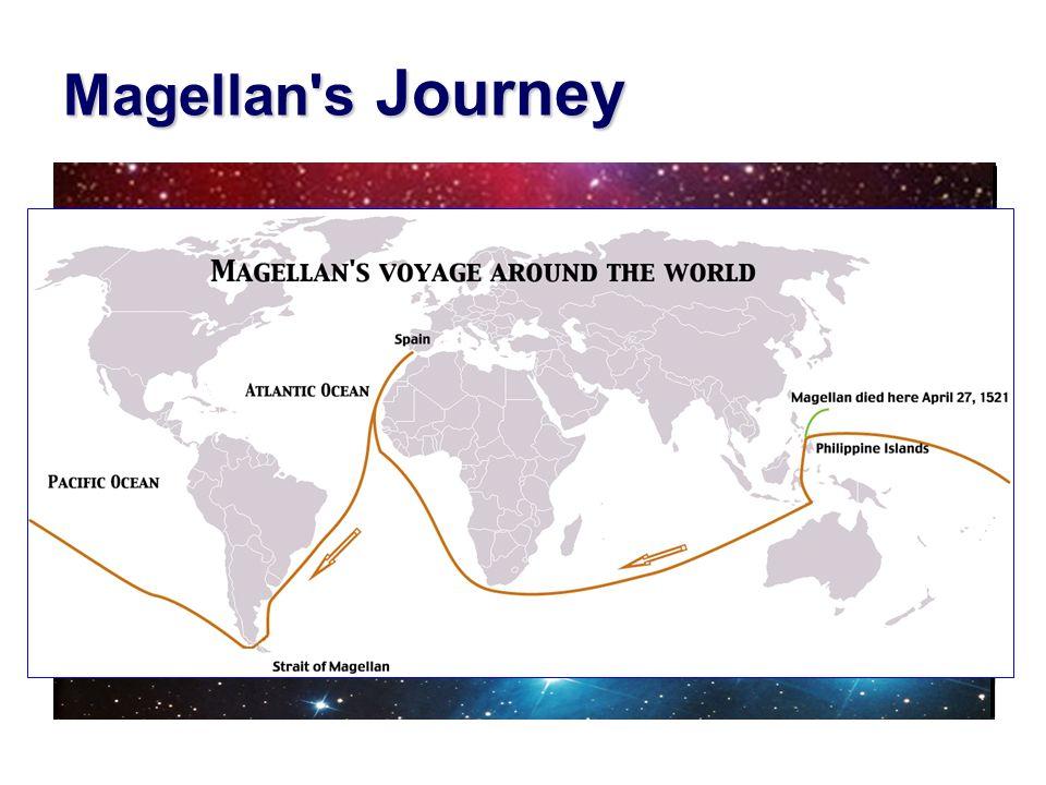 Magellan's Journey August 10, 1519 September 6, 1522 Start: about 250 men Return: about 20 men