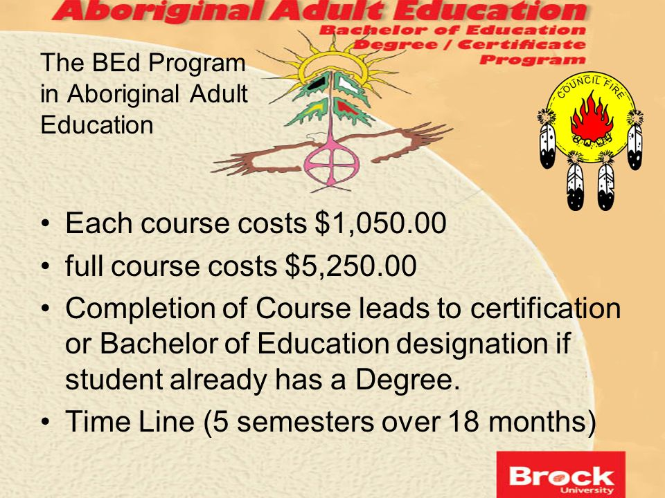 The BEd Program in Aboriginal Adult Education Each course costs $1,050.00 full course costs $5,250.00 Completion of Course leads to certification or B
