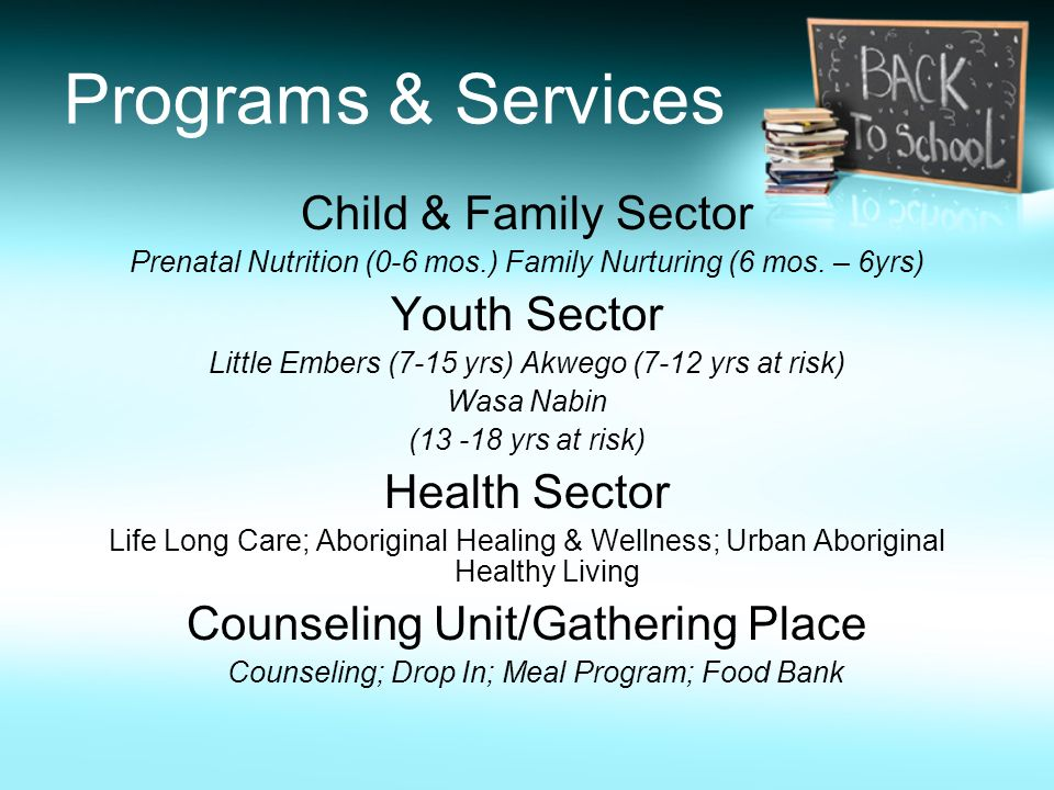 Programs & Services Child & Family Sector Prenatal Nutrition (0-6 mos.) Family Nurturing (6 mos. – 6yrs) Youth Sector Little Embers (7-15 yrs) Akwego