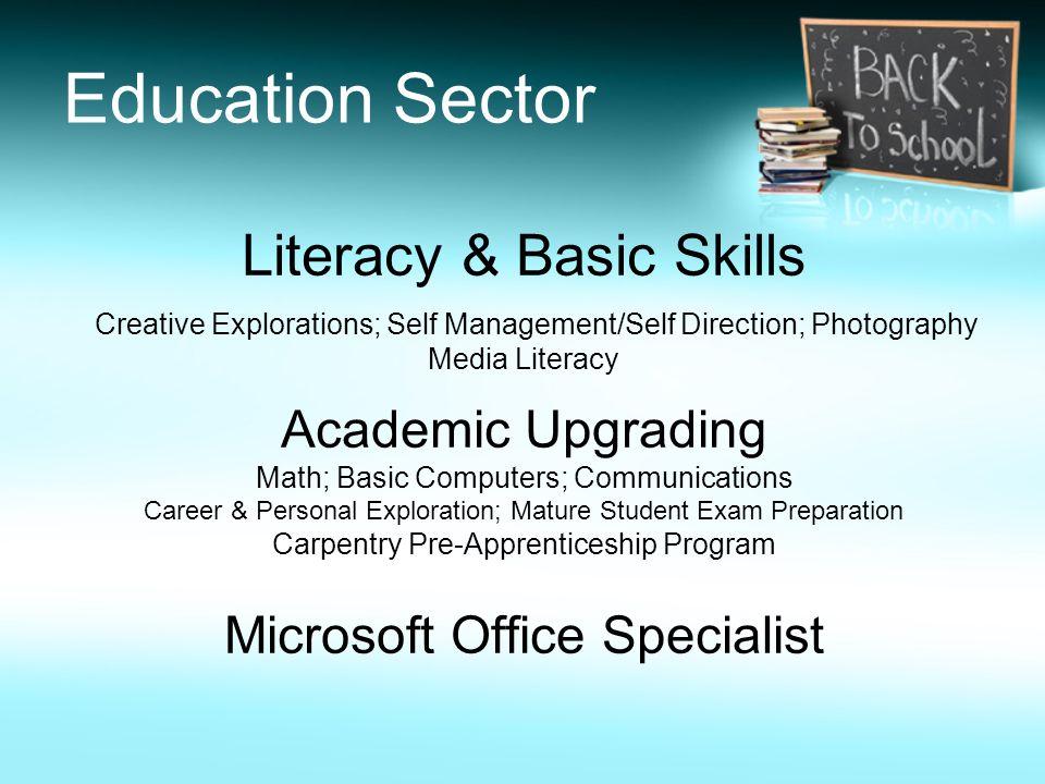 Education Sector Literacy & Basic Skills Creative Explorations; Self Management/Self Direction; Photography Media Literacy Academic Upgrading Math; Ba