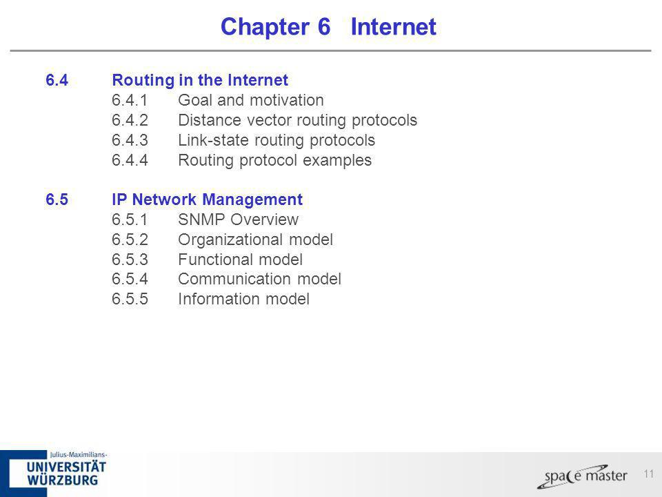11 Chapter 6 Internet 6.4Routing in the Internet 6.4.1Goal and motivation 6.4.2Distance vector routing protocols 6.4.3Link-state routing protocols 6.4
